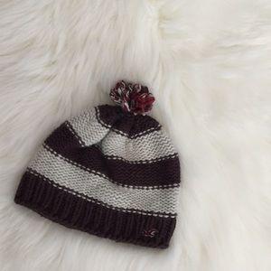 Hollister Chunky Knit Striped Beanie With Pompom